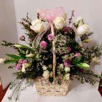 pink flowers on basker